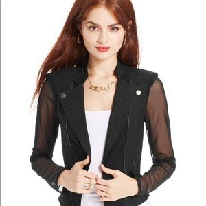 Mesh detailed black blazer